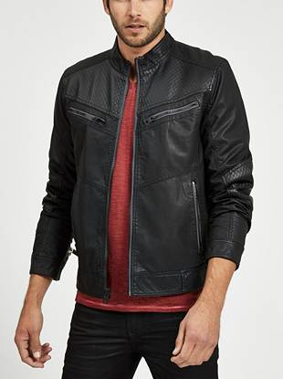 Moto inspired and modernly designed, this jacket is all about the details. Allover texture and faux-leather contrast give your looks a most-wanted edge.