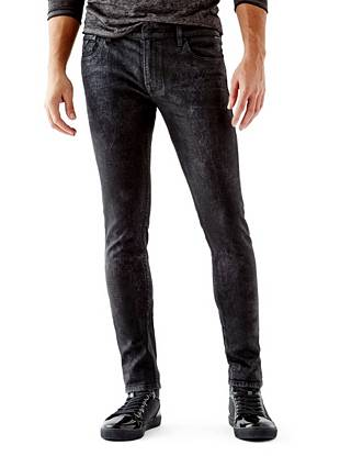 WHY YOU NEED IT: Skinny from top to bottom, this new signature fit sits low on your hips and is great for slim builds. Made with American denim and finished with rugged, leather-like coating, they're right in line with the season's rocker-inspired trend.