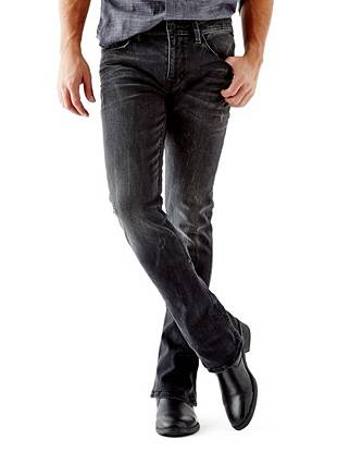 WHY YOU NEED IT: One of our newest fits, the Skinny Boot fits skinny through the leg and kicks out at the ankle for a modern rock 'n' roll vibe. This faded black pair gives you that essential