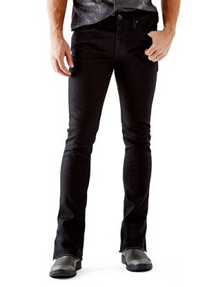 WHY YOU NEED IT: One of our newest fits, the Skinny Boot fits skinny through the leg and kicks out at the ankle for a modern rock 'n' roll vibe. This all-black pair has a super-soft feel and an unfinished, frayed hem. Made with Italian denim and great for slim builds.