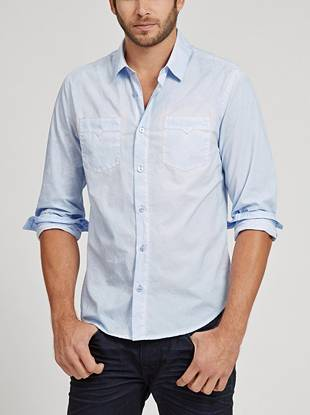 A worn-in tumble-washed effect gives this slim-fit button down a laid-back look.