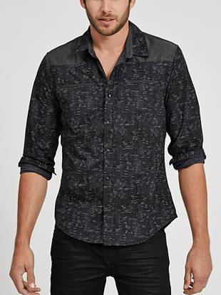 Bring modern edge to your day-to-night looks with this static-printed button down.