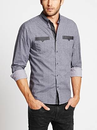 A unique crosshatch pattern and contrast piecing deliver right-now appeal to this classic button-down.