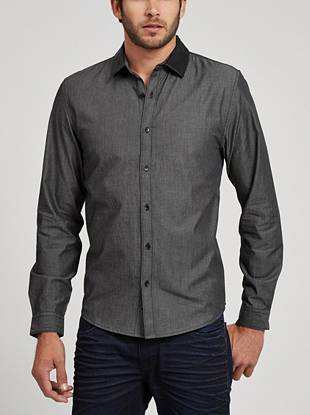 This simple button down features a modern faux-leather collar, making it perfect for a night out.