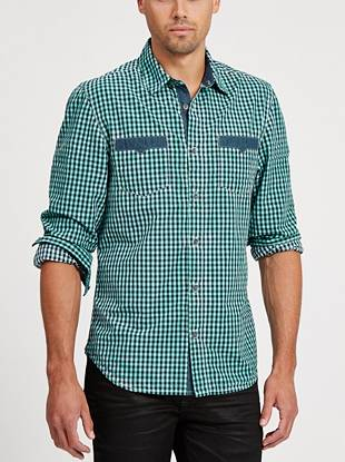 A faded finish gives this classic gingham shirt a rugged, laid-back vibe.