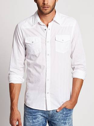 Subtle dobby-weave stripes give this button-down shirt most-wanted texture.