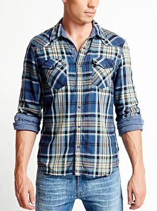 A mixed plaid design and Western-inspired pieced yoke combine to create this year-round essential.