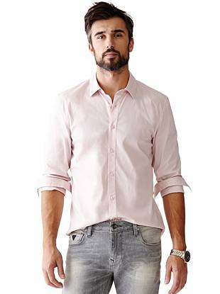 Long-Sleeve Classic Stretch Slim-Fit Shirt