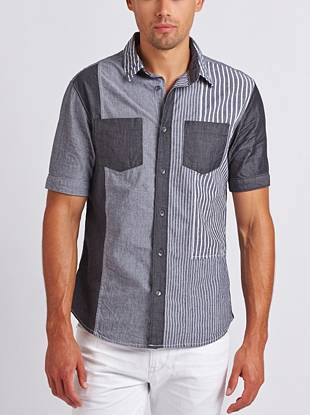 With a varied striped pattern and pieced construction, this slim-fit button-down adds casual  polish to your everyday looks.