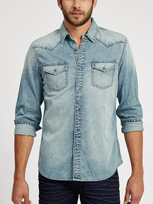 Faded chambray and Western-inspired piecing make this shirt is a year-round staple. Button it for a more put-together look or wear it open if you're going for a laid-back vibe.