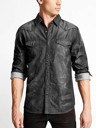 Lightweight and soft, this chambray shirt is ideal for layering or wearing on its own. The faded black wash gives it a lived-in vibe.