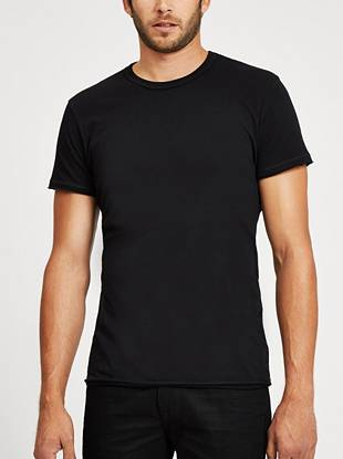 Raw edges give this basic crewneck tee a rugged look.