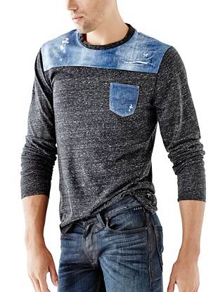 Laid back yet completely unique, this long-sleeve tee takes the color-blocking trend to a whole new level. The photo-real denim-print  contrast delivers modern edge to your casual weekend looks.