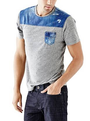 Laid back yet completely unique, this short-sleeve tee takes the color-blocking trend to a whole new level. The photo-real denim-print  contrast delivers modern edge to your casual weekend looks.