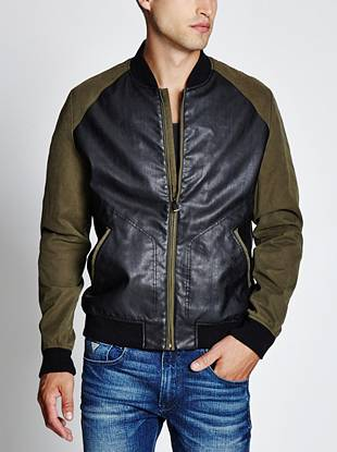 The bomber meets the varsity jacket: A unique mix of materials brings a modern look to this new essential.