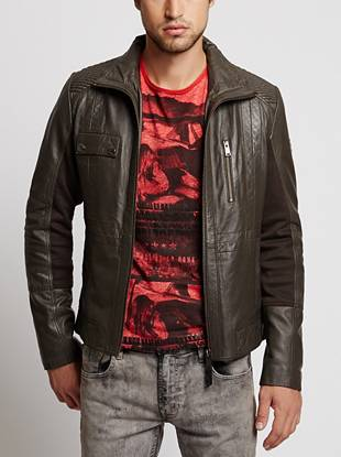 Moto-inspired details bring subtle edge to this sleek and understated leather jacket. Contrast knit panels offer added flexibility, making it a comfortable, easy-to-wear and perfectly-on-trend outerwear essential.