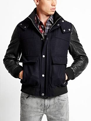 A durable wool-blend body mixes with contrast faux-leather sleeves to deliver this modern yet completely versatile jacket. Plus, the color-blocked design makes it ideal for layering over your casual street-style looks.
