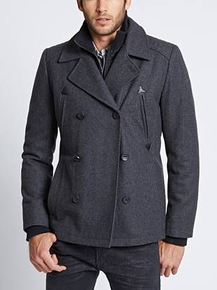 A removable zippered placket and athletic ribbed details bring a casual, layered vibe to this polished peacoat. Zip up the front for a laid-back daytime look then button the double-breasted closures after dark to dress it up.