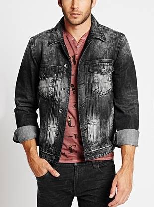 Get that beat-up, rocker-inspired look with this distressed denim jacket in our signature fit. The faded black wash and grey bleached contrast give it a laid-back, worn-in vibe that's unique to each piece. No two are exactly alike.