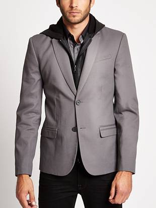 Get the most-wanted layered look by adding this hooded blazer to your everyday wardrobe. A removable sweatshirt placket delivers casual edge to the otherwise polished design.