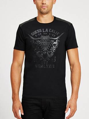 Bring rocker edge to your off-duty looks with this faux leather-detailed tee.
