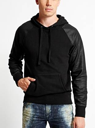 A modern update to your favorite sweats, this hoodie is the ultimate throw-on-and-go essential. The soft and comfortable design is finished with coated sleeves for extra edge.