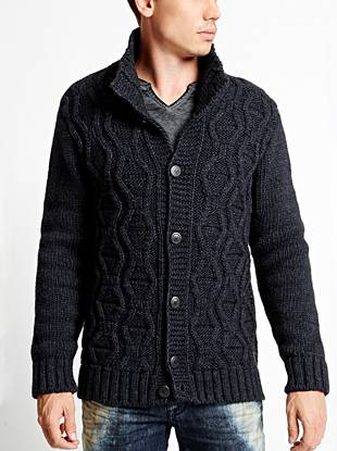 Wool-blend construction and a subtle stitch pattern make this cardigan your new favorite layering piece.
