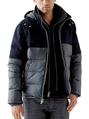 Nylon and Wool Mixed Puffer Jacket