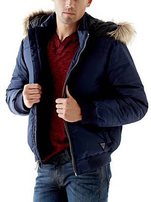 Stay warm and in style through the cooler seasons with this essential puffer jacket. The removable hood and faux-fur trim deliver day-to-night versatility, making it perfect for the guy who's always on the go.
