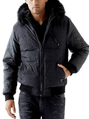 Trend-driven fashion meets modern function with this versatile puffer jacket. Faux-leather sleeves and faux-fur trim perfectly complement the classic herringbone pattern. Plus, the zippered hood can transform into a collar depending on the look you're going for.