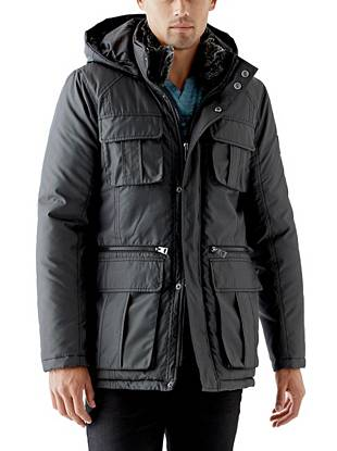 A heavyweight design and multifunctional details make this jacket a key layering piece for the winter months. The removable zippered hood lets you customize your look, so you're prepared for whatever the day (or night) may bring.
