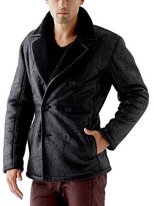 Give your night-out looks a sleek, modern finish with this faux-shearling peacoat. The crackled and coated finish brings rock 'n' roll edge to the polished, double-breasted design.