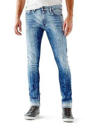WHY YOU NEED IT: Skinny from top to bottom, this new signature fit sits low on your hips and is great for slim builds. This pair's made with medium-weight American denim that has a little stretch for comfort. Finished with an edge-driven acid wash, they channel the season's rocker vibe and are great for slim builds.