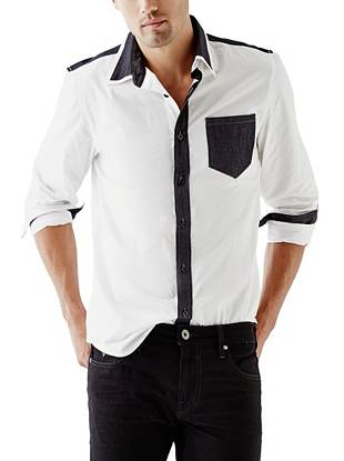 Chambray piecing and a color-blocked design give this basic button-down a modern look.