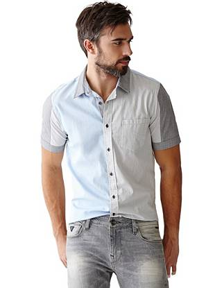 Take the color-blocking trend to a whole new level with this short-sleeve button-down. A modern mix of crosshatch and pinstripe patterns bring just enough edge to the slim-fit style.
