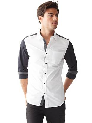 Modern color-blocking makes this slim-fit shirt an essential for the trend-conscious guy.