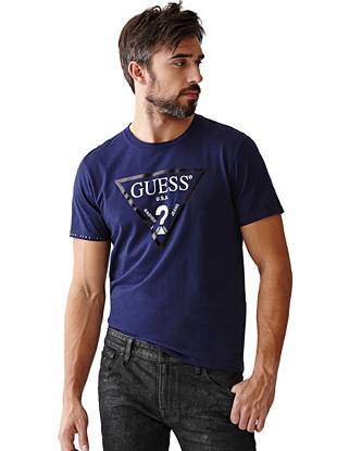 Modern metallic details make this logo tee an essential for the forward-thinking guy.