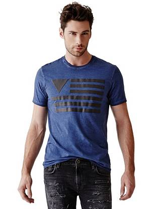 Our iconic triangle logo teams with red, white and blue to create this patriotic graphic tee.