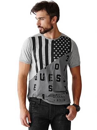 Modern color-blocking and a patriotic graphic bring unexpected edge to this essential logo tee.