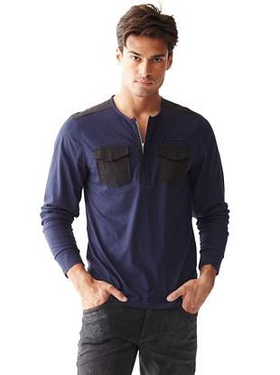 A modern take on the classic henley, this tee is an essential every guy needs. Designed with a contrasting yoke and zippered pocket, it brings just the right amount of edge to your casual looks.