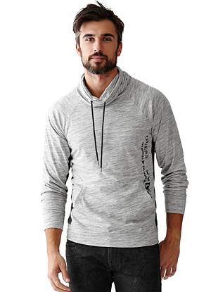 A modern heathered effect and color-blocked design make this pullover your new day-off favorite. Layer it on those crisp cold-weather days or wear it solo for a laid-back weekend vibe.
