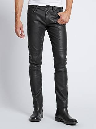 One of our fastest-growing fits, the Slim Taper is slim through the hip and thigh then tapers below the knee for a close-cut look. This modern faux-leather pair is finished with moto-inspired stitching for a stage-worthy, rock-driven look.