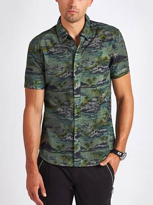 A distinctive Polynesian print covers this casual button-down for a modern warm-weather look.