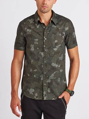 A modern camo print covers this casual button-down for an updated style that's perfect for summer.