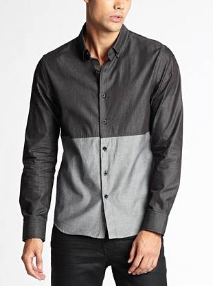 A tailored slim fit and color-blocked construction make this shirt ideal for the modern guy.