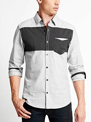 A modern color-blocked design makes this button-down the perfect night-out piece.