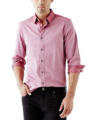 Give your night-out looks a subtle dose of edge with this contrasting button-down.