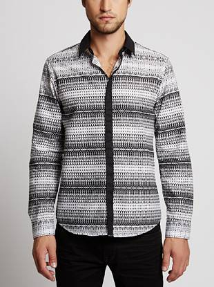 A statement-making abstract print is offset by contrast solid details to create this versatile and modern button-down.