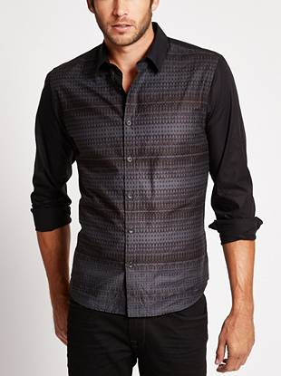 Give your night-out looks a subtle dose of edge with this abstract-printed button-down.