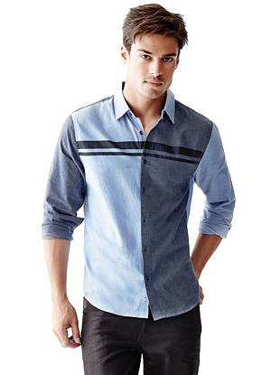 Modern color-blocking and striped contrast make this button-down your new night-out go-to.